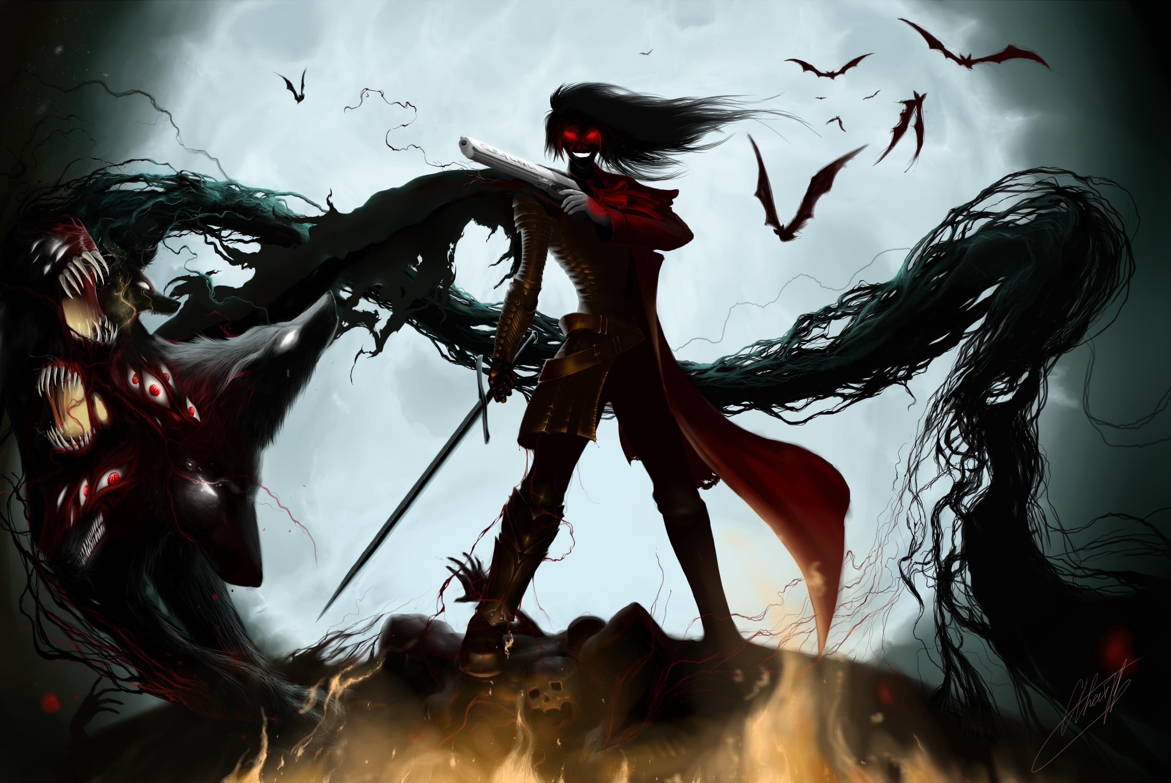 Donker - Krijger  - Gothic - Donker - Sword - Killer - Vampier - Van Hellsing - Dracula - Alucard Achtergrond