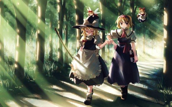 Anime Touhou Witch Alice Margatroid Marisa Kirisame Blonde Short Hair Orange Eyes Sunbeam Forest HD Wallpaper | Background Image