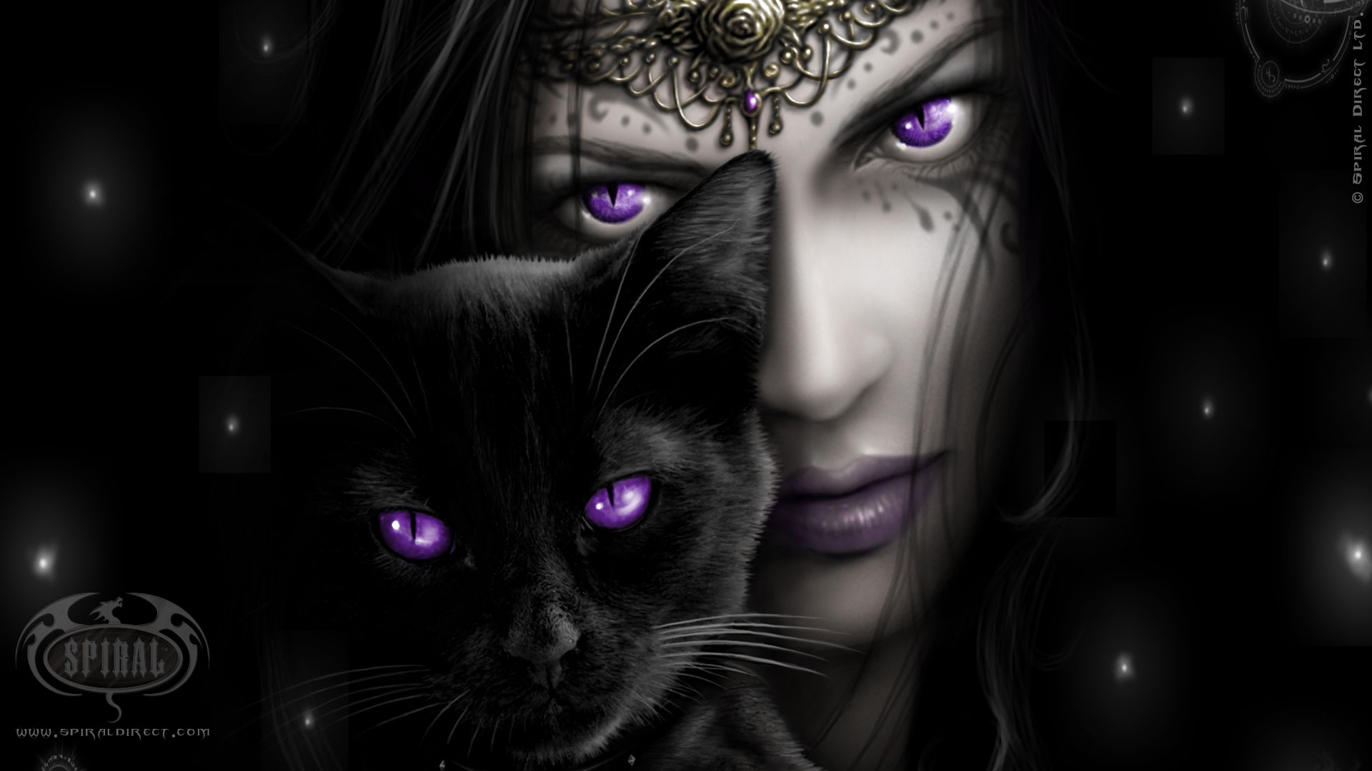 Donker - Gothic  Purple Eye Cat Witch Hd Woman Wallpaper