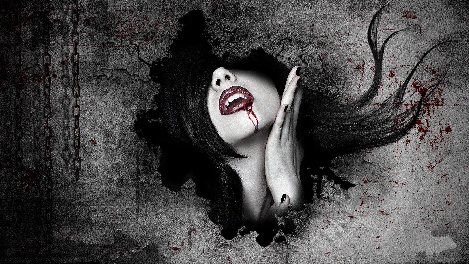 Dark - Vampire  Dark Blood Beautiful Woman Lipstick Fantasy Black Fangs Wallpaper
