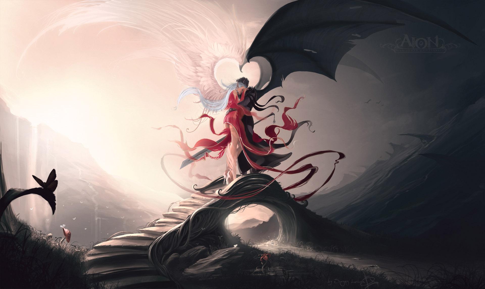 Fantasy - Love  Wings Demon Angel Couple Sword Wallpaper