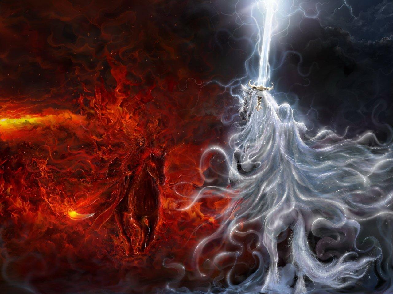Fantasía - Batalla  Good Vs. Evil Ángel Demonio Caballo Espada Relámpago Fuego Death Luz Fondo de Pantalla