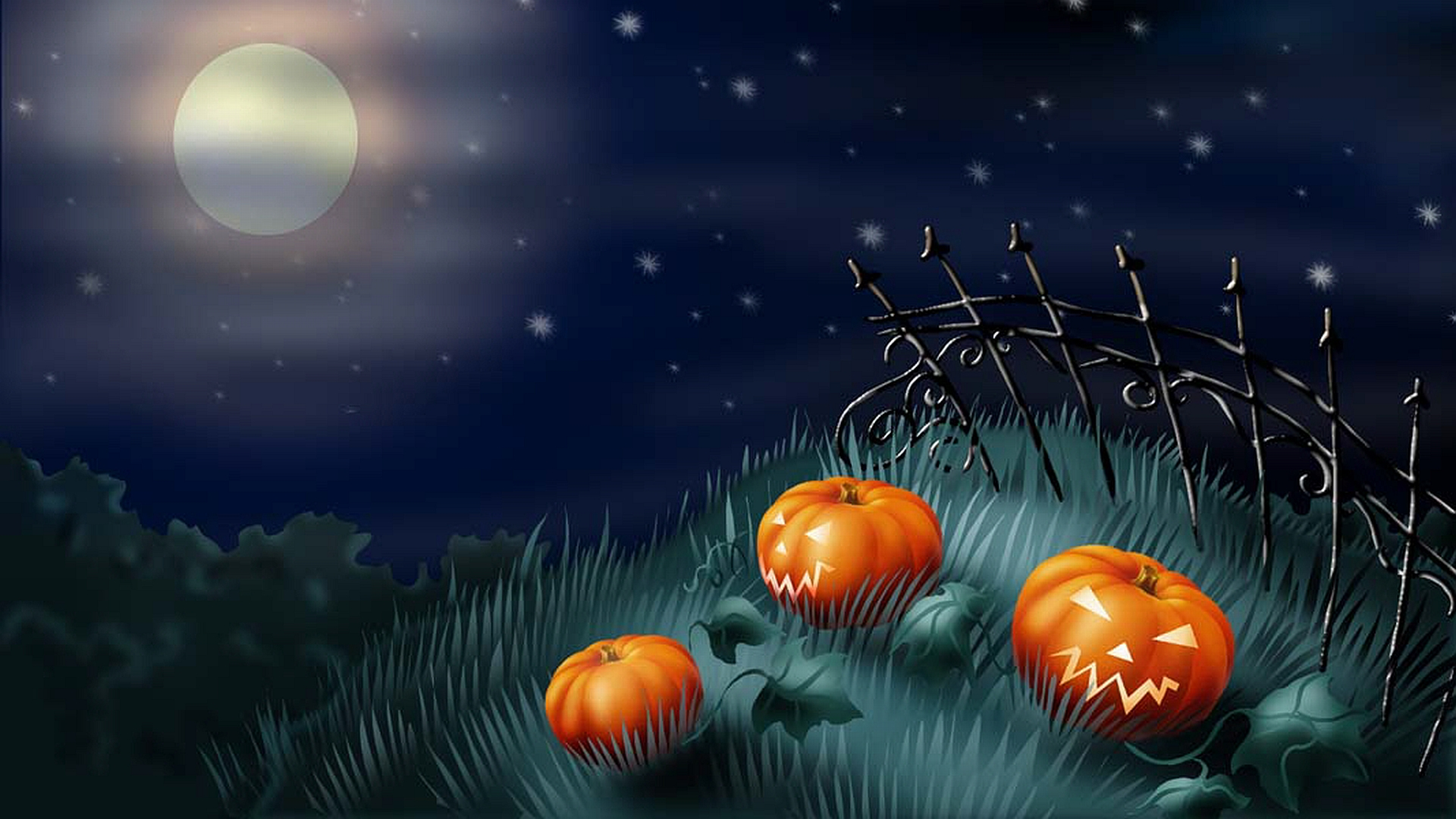 Holiday - Halloween  - Pumpkin - Moon - Night Wallpaper