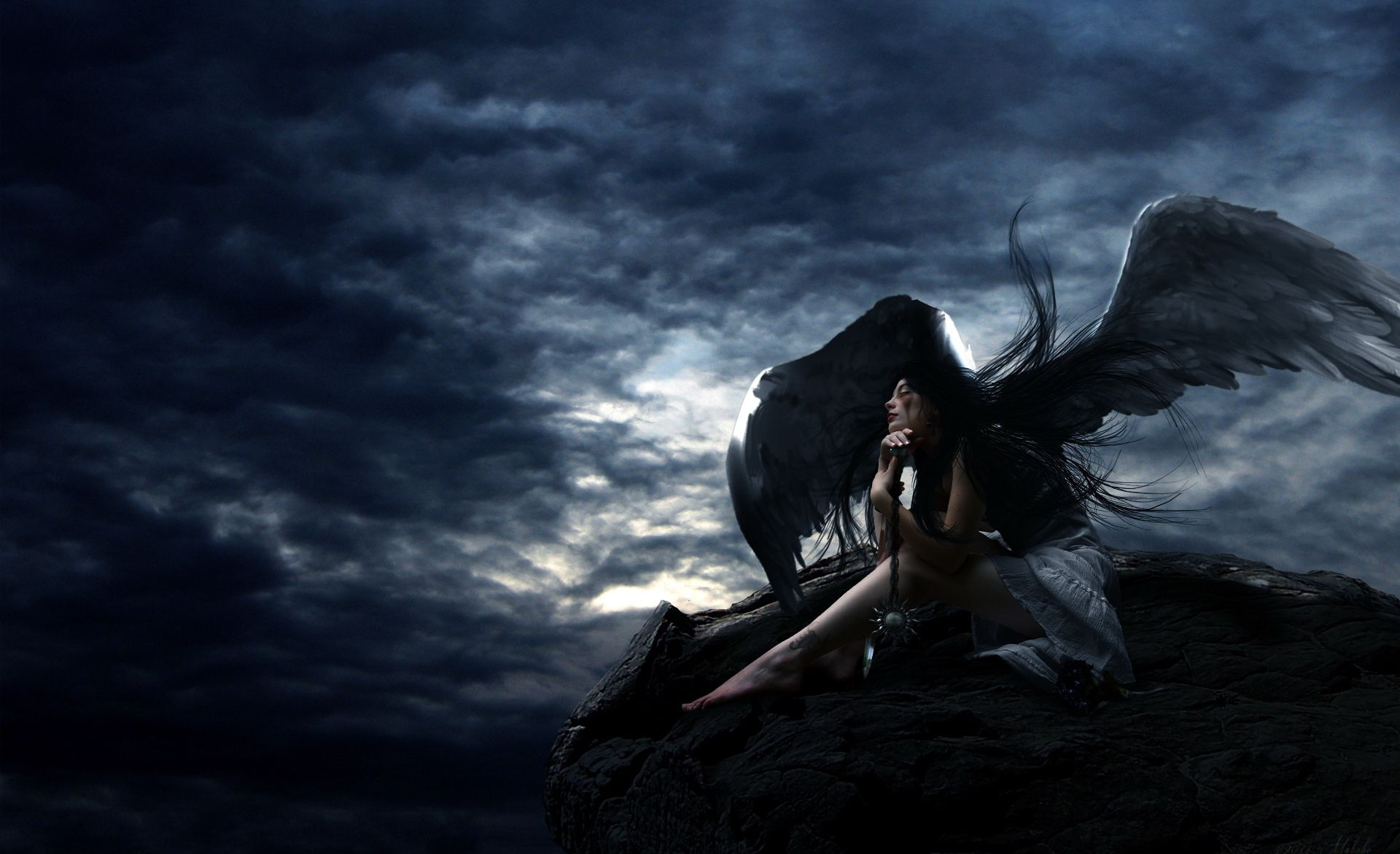 Fantasy - Angel  Dark Wings Hot Awaiting Angel Wallpaper