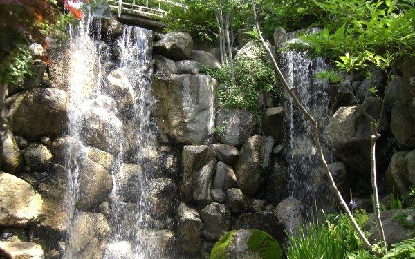 Earth Waterfall Waterfalls Bridge HD Wallpaper | Background Image