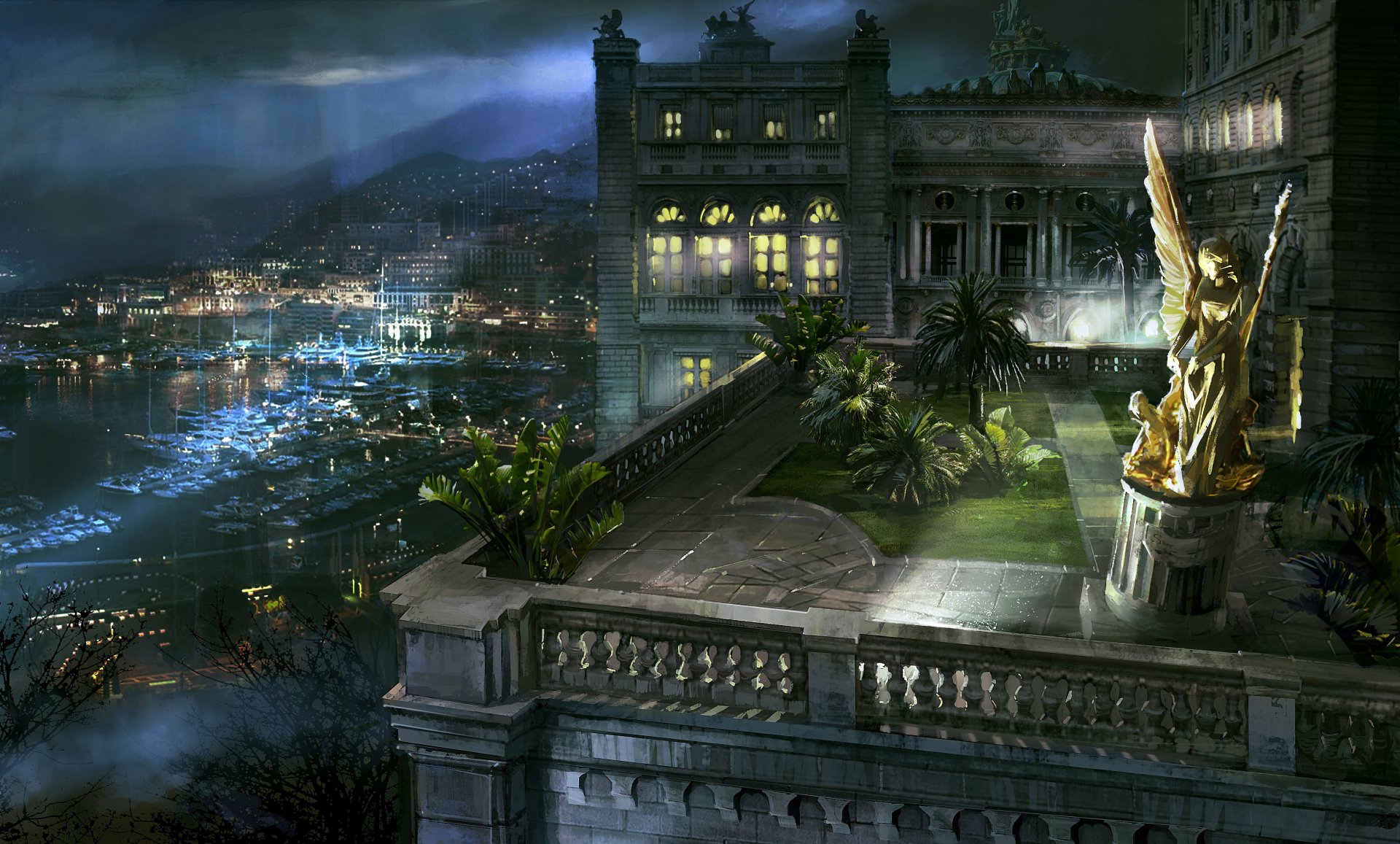 Artistic - Building  Harbor Monaco Night Statue Wallpaper