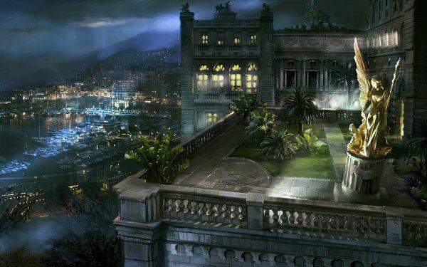 Artistic Building Buildings Monaco Harbor Night Statue HD Wallpaper | Background Image