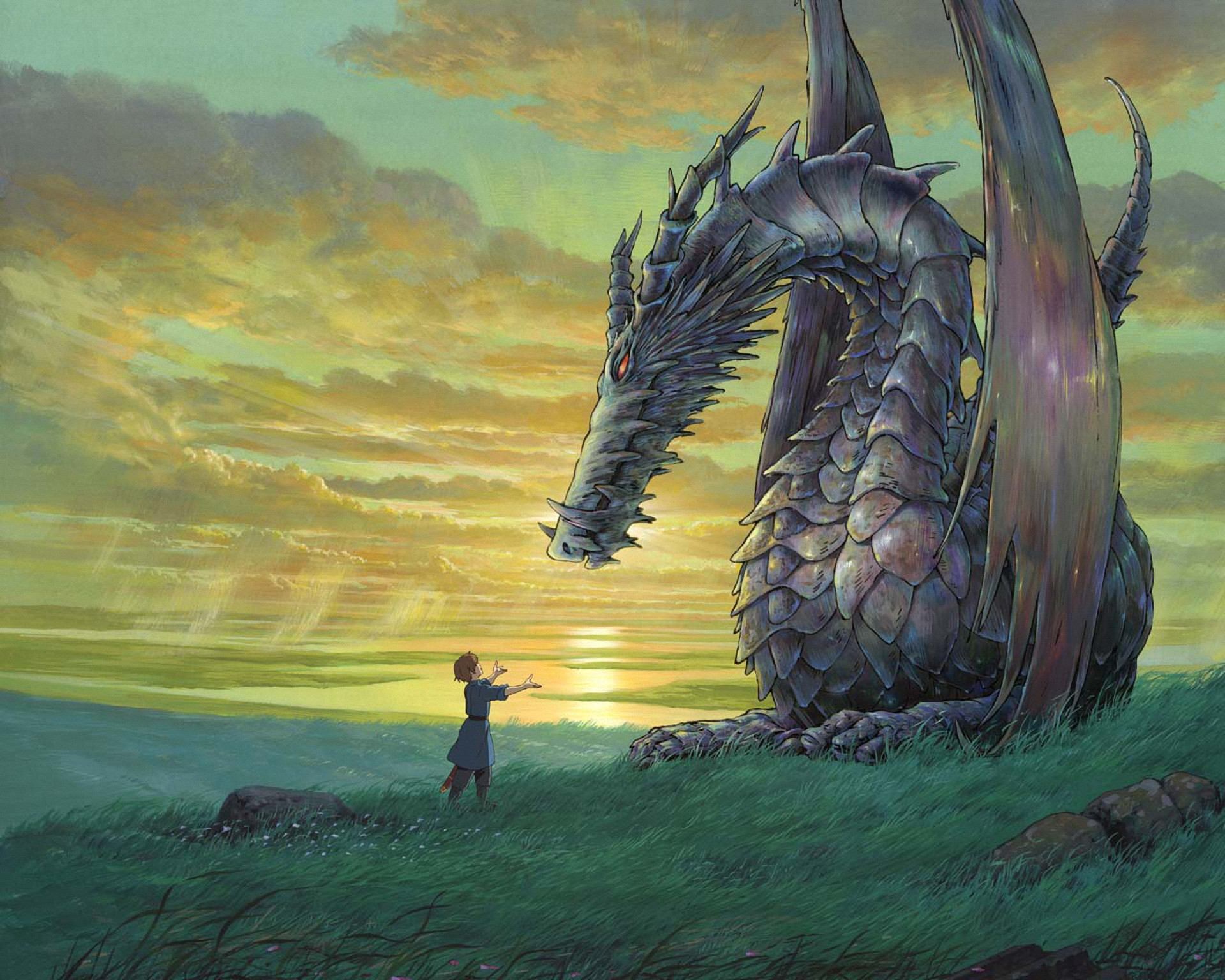 Anime - Tales From Earthsea  Brave Boy Beast Dragon Tamer Draak Studio Ghibli Earthsea Anime Wallpaper