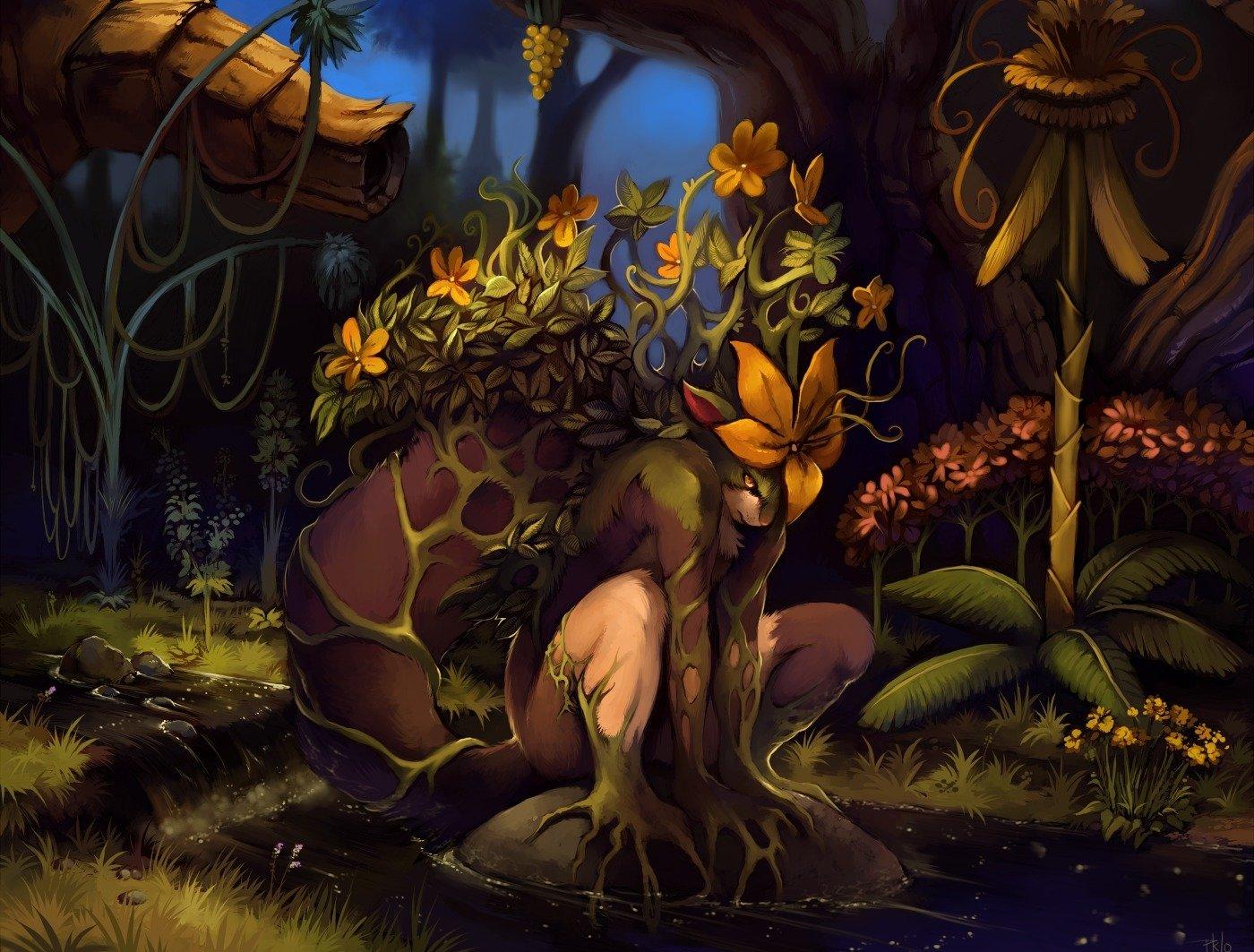 Fantaisie - Sylvan  Créature Elémentaire Forêt Fond d'écran