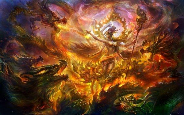 Fantaisie Dragon Magicienne Bataille Fond d'écran HD | Image