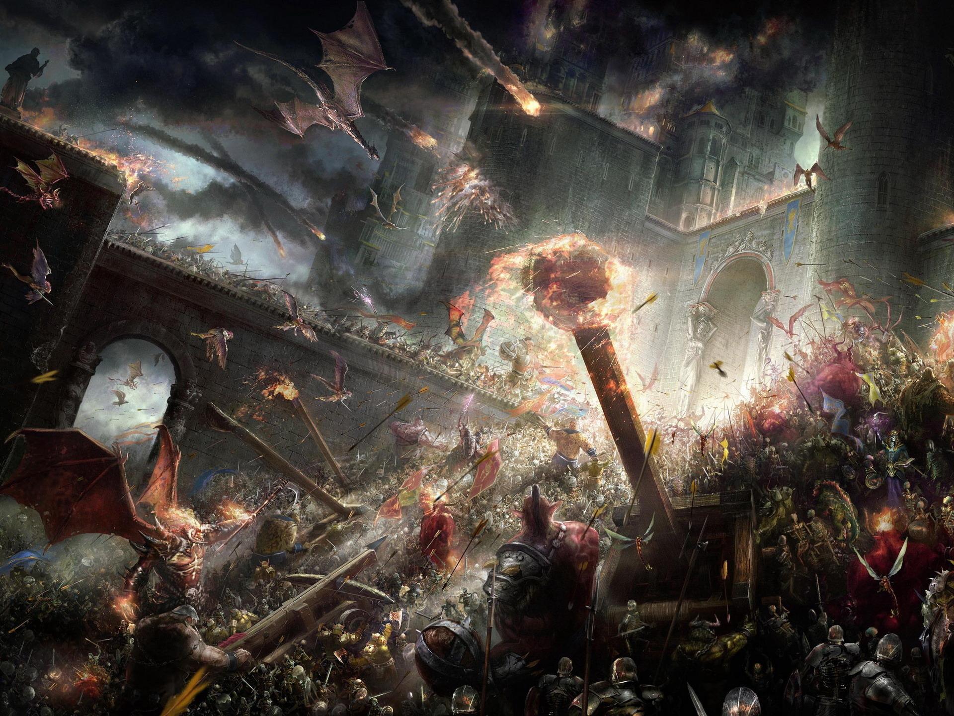 Fantasía - Batalla  Dragón Guerrero Weapon Castillo Fuego Fondo de Pantalla
