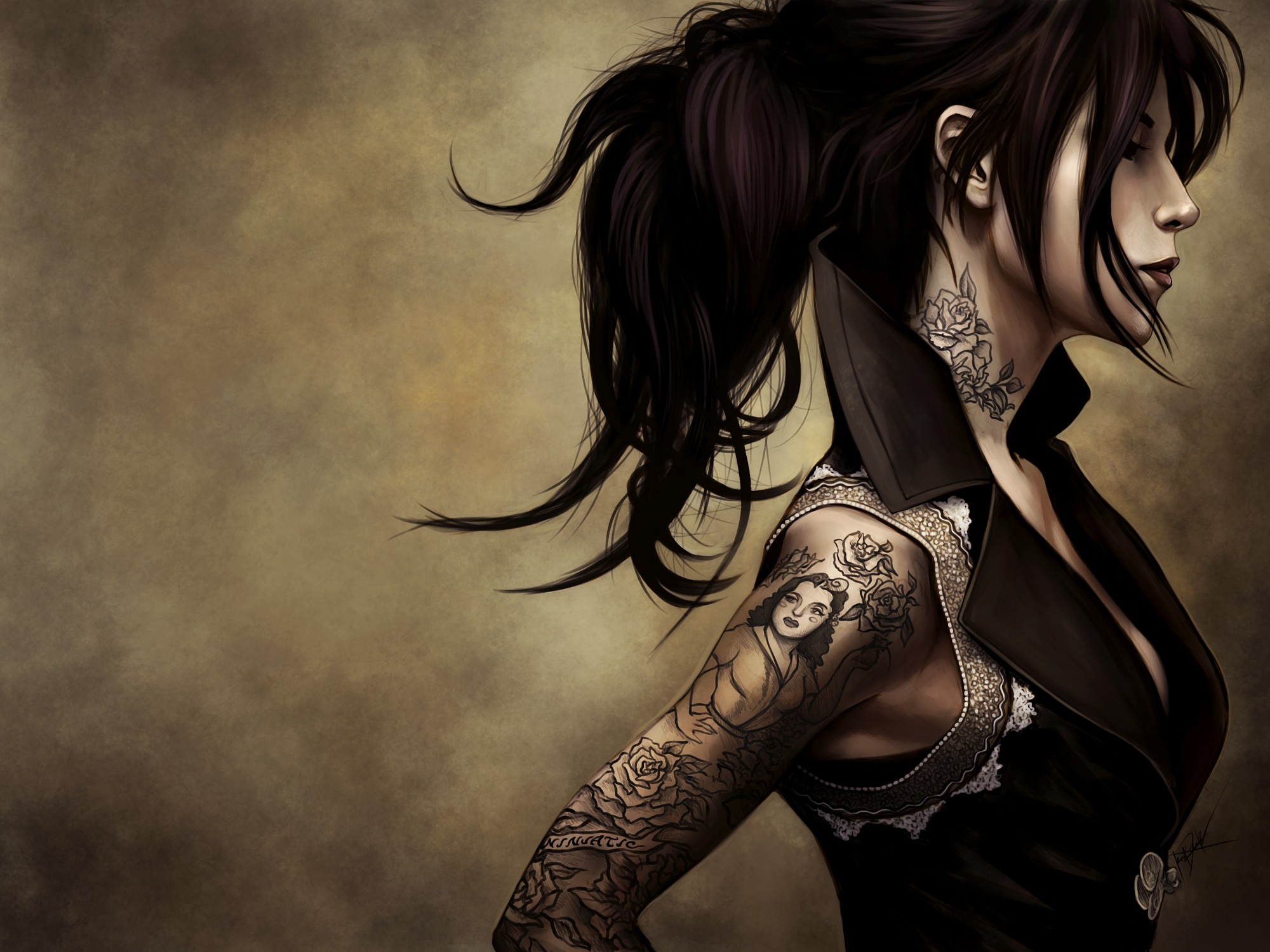 CGI - Women  - Tattoo - Gothic - Woman Wallpaper