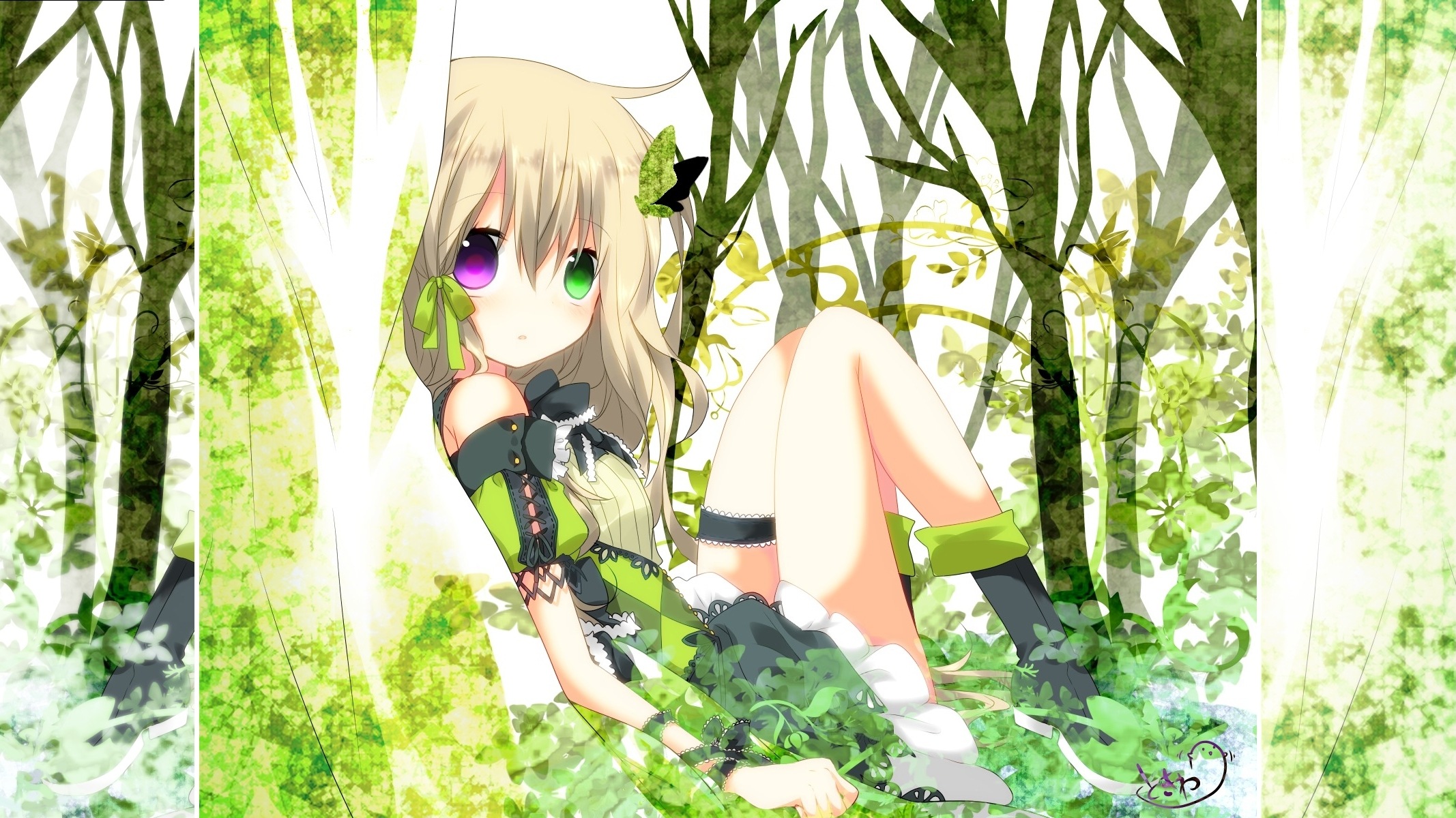 Anime - Unknown  - Forest - Green - Dress - Butterfly - Blonde Hair - Purple Eyes - Green Eyes Wallpaper