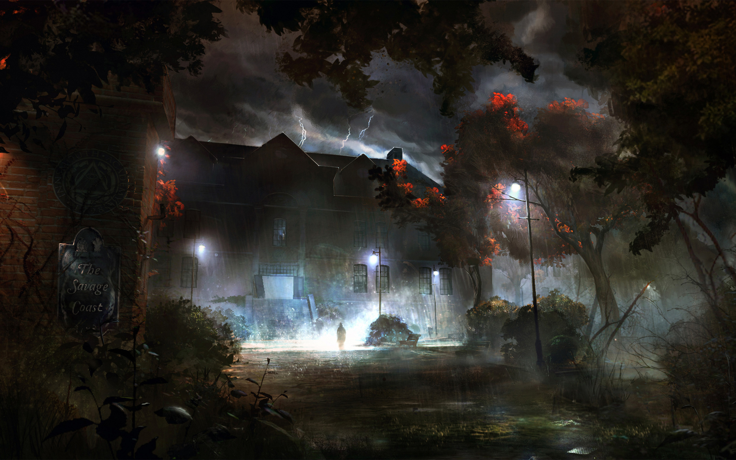 Fantasy - Artistic  - Night - Rainy - Lightning - Spooky Wallpaper