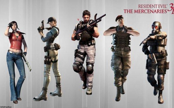 Video Game Resident Evil: The Mercenaries 3D Resident Evil Claire Redfield Jill Valentine Chris Redfield Hunk Jack Krauser HD Wallpaper | Background Image