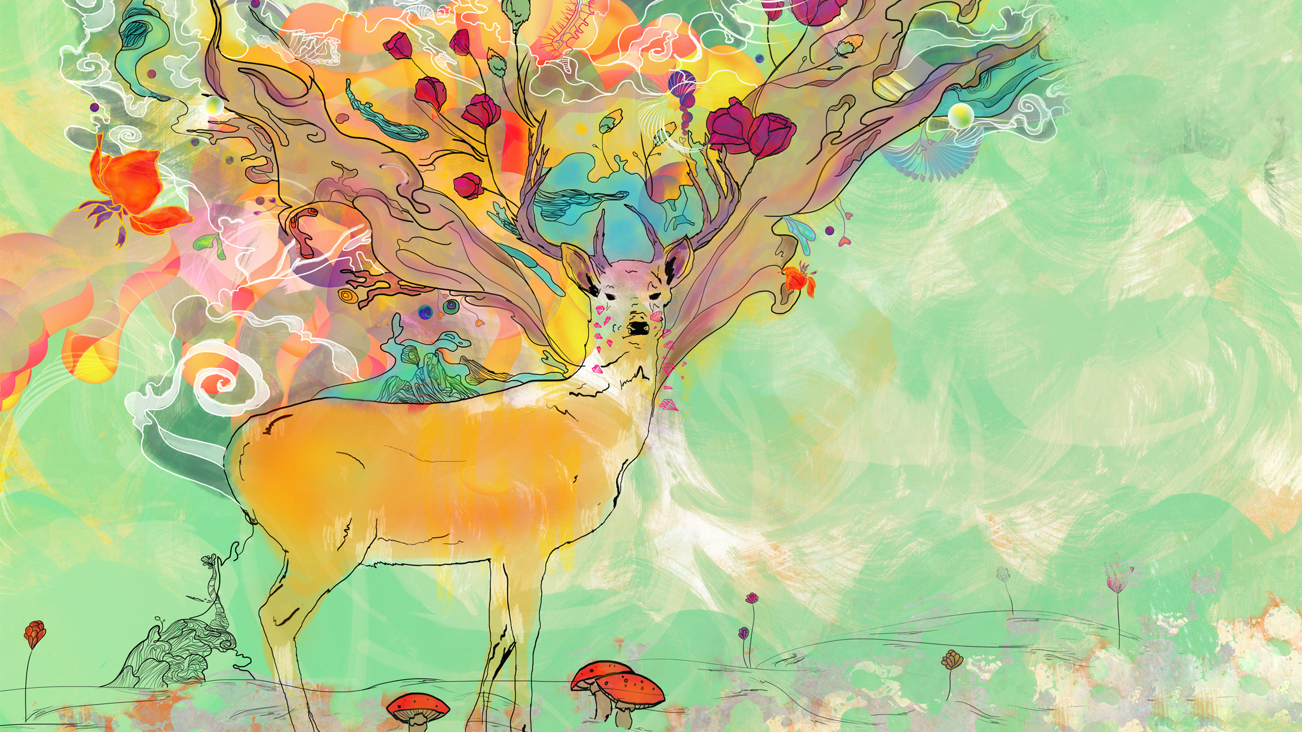 artistic psychedelic deer artistic animal wallpaper
