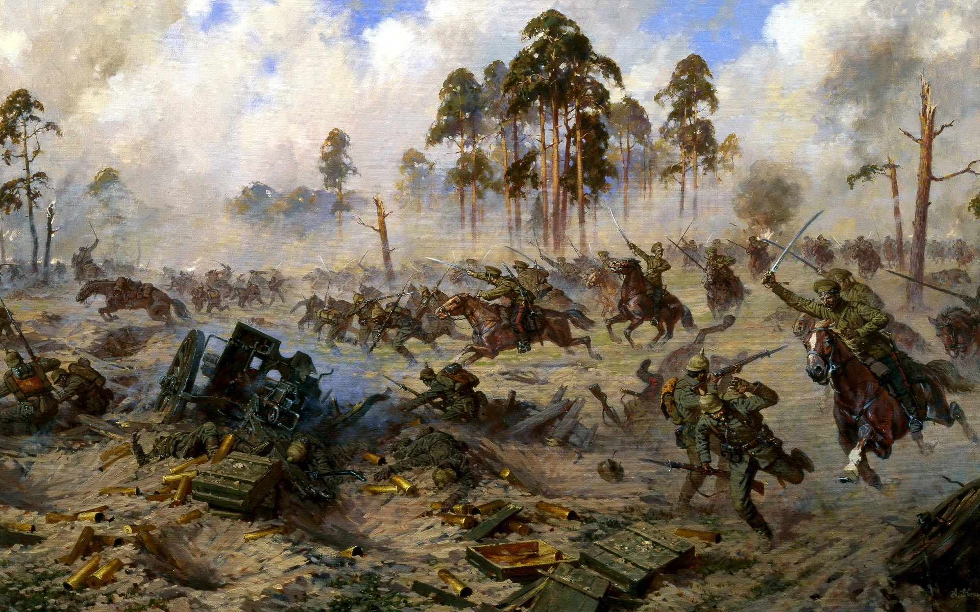 Military - Battle  Painting Artistic Wallpaper