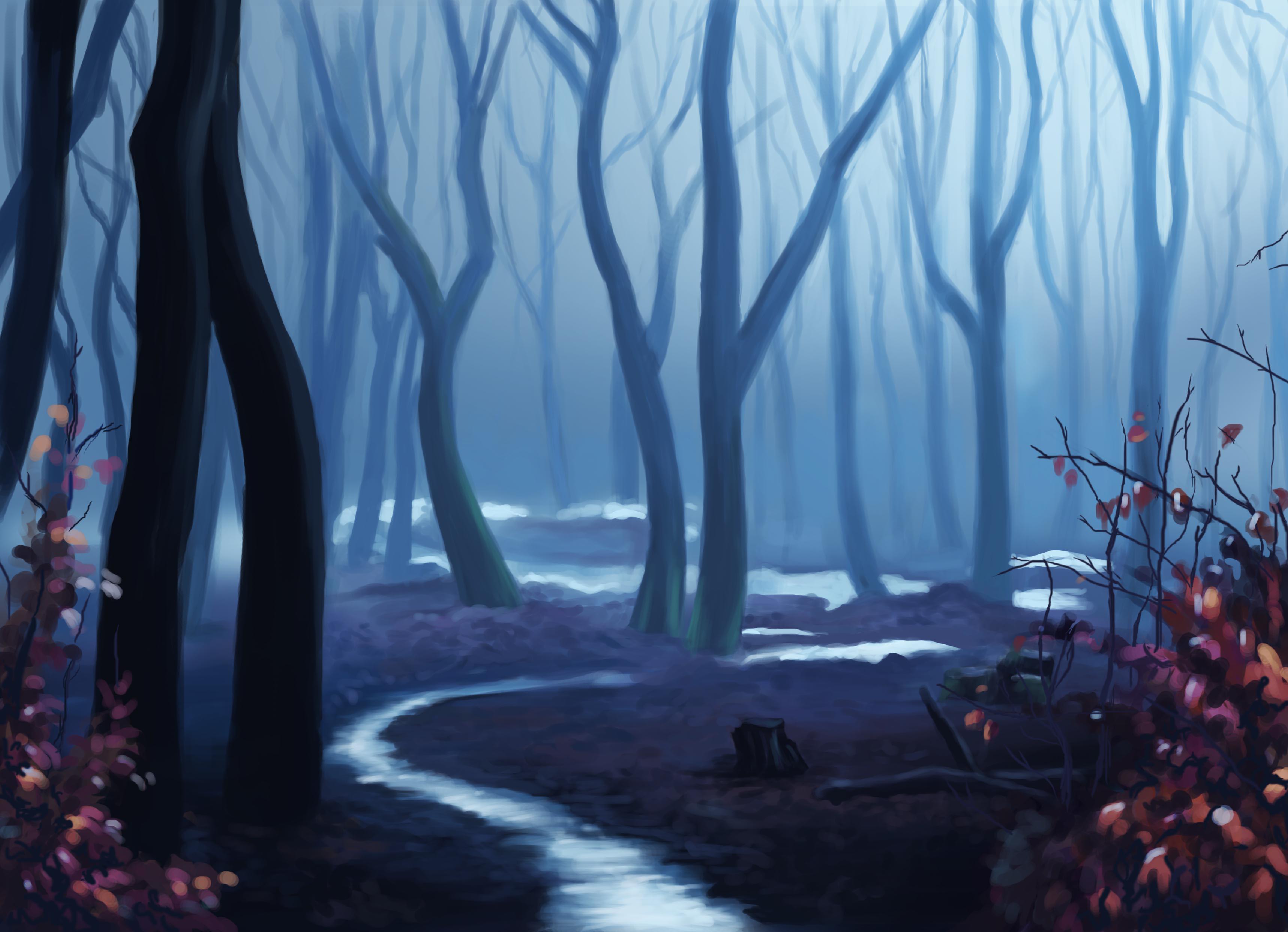 Лес нарисованный фон