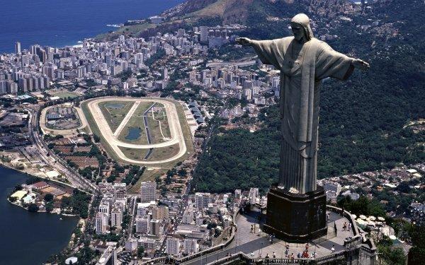 Religious Christ The Redeemer Rio de Janeiro Landscape Building Coast HD Wallpaper | Background Image