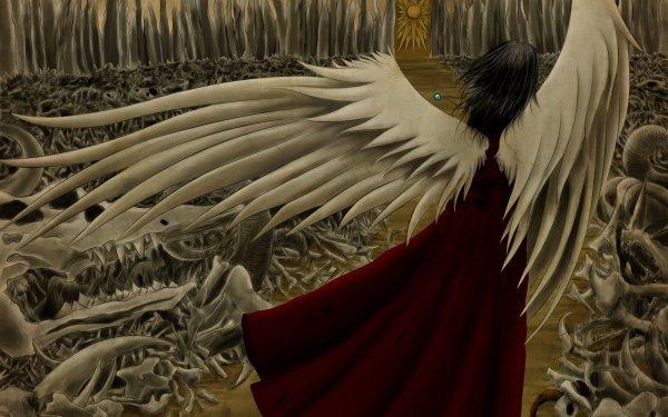 Anime Angel Fantasy Wings Skeleton Bones HD Wallpaper | Background Image