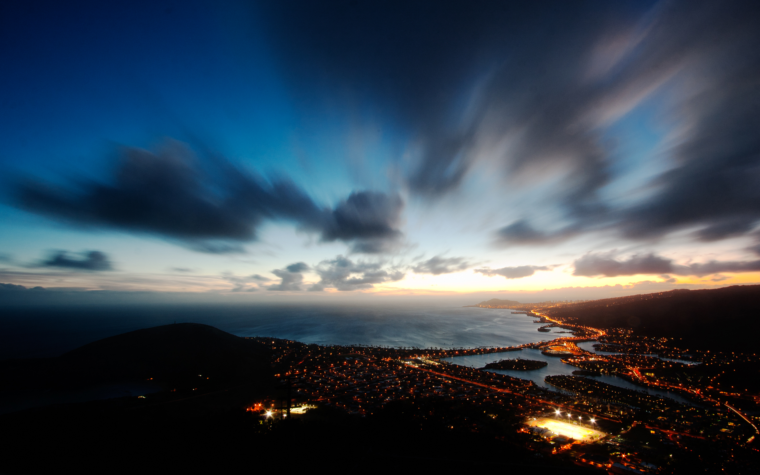 Man Made - City  Hawaii Kai USA Night Sky Cloud Wallpaper
