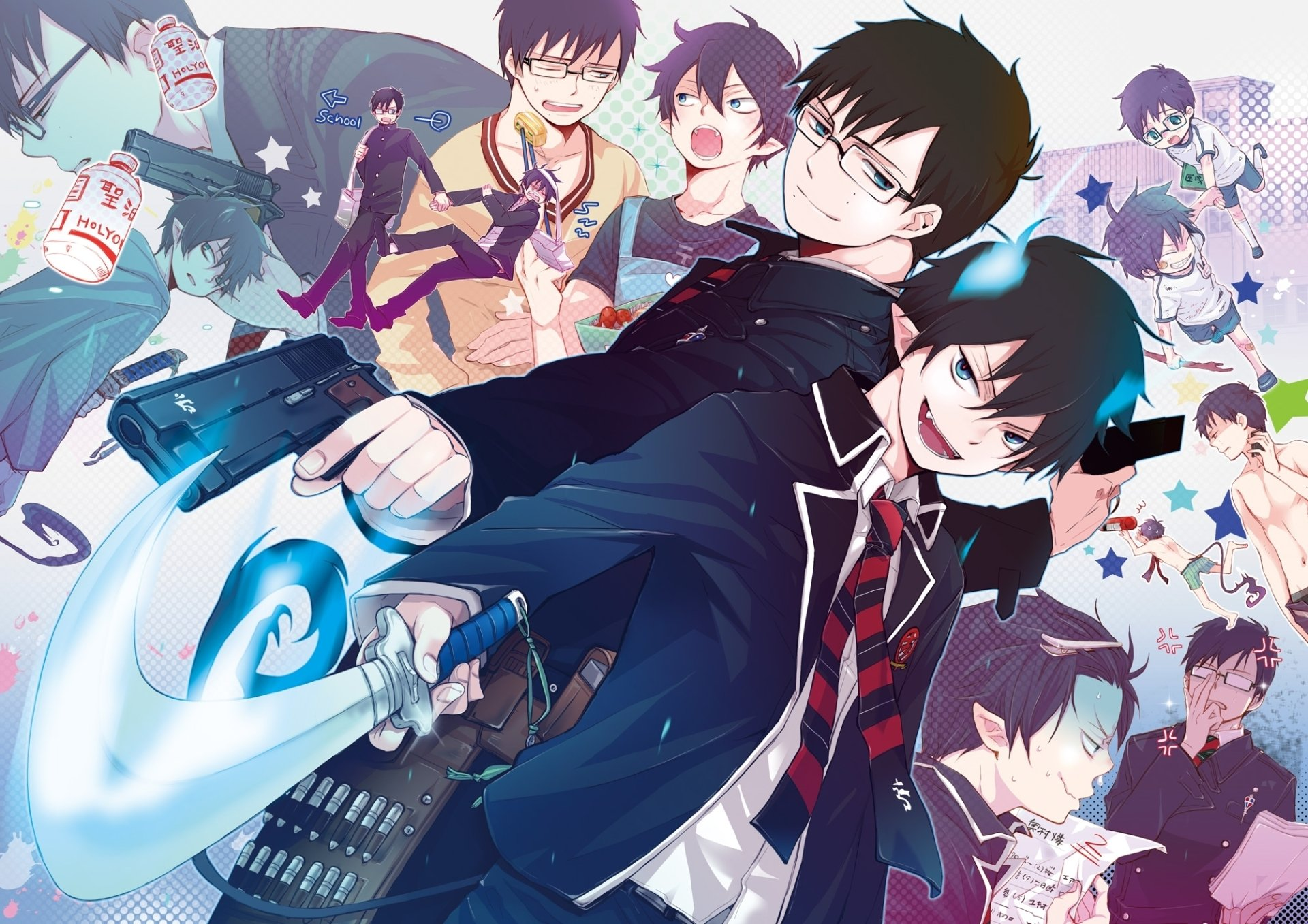 Anime - Blue Exorcist  Ao No Exorcist Rin Okumura Yukio Okumura Kurikara (Blue Exorcist) Blue Hair Blue Eyes Wallpaper