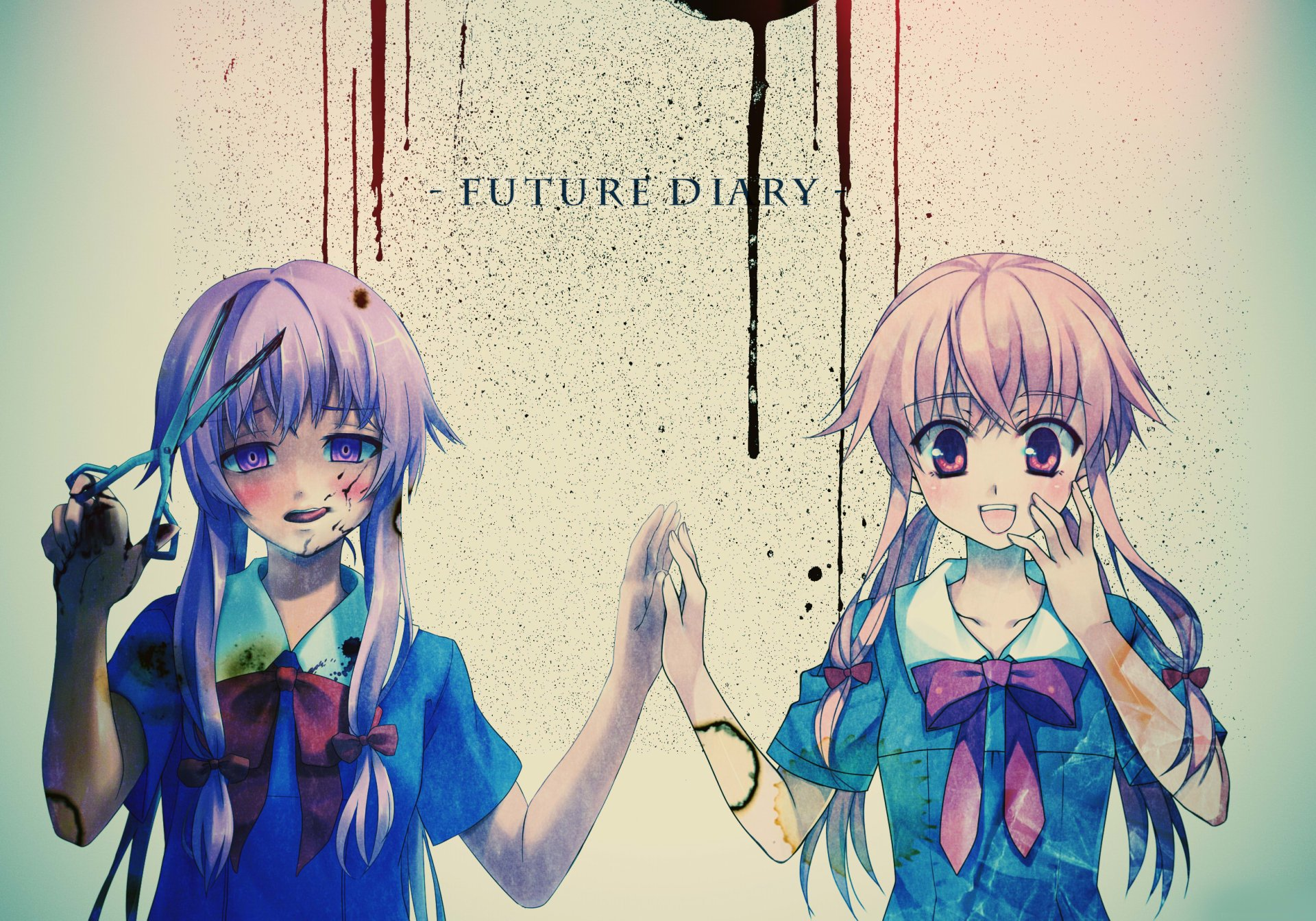 Anime - Mirai Nikki  Anime Yuno Gasai Future Diary Pink Hair Yandere Blood Girl School Uniform Wallpaper