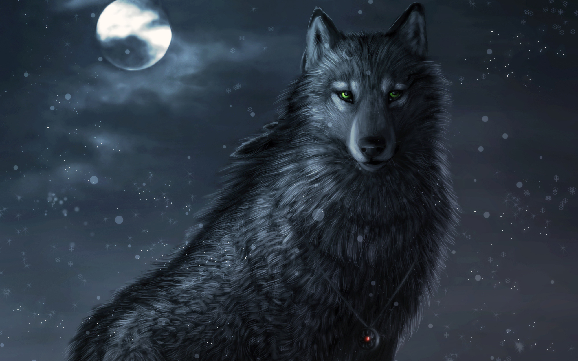 Black Wolf with Blue Eyes