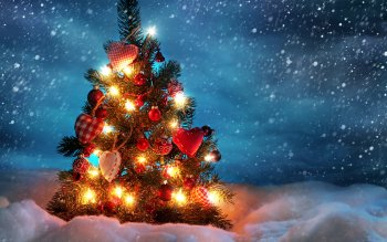 Holiday Christmas Night Ligths Snowfall Winter Snow Christmas Lights Christmas Ornaments Christmas Tree Cold Colors Light HD Wallpaper | Background Image