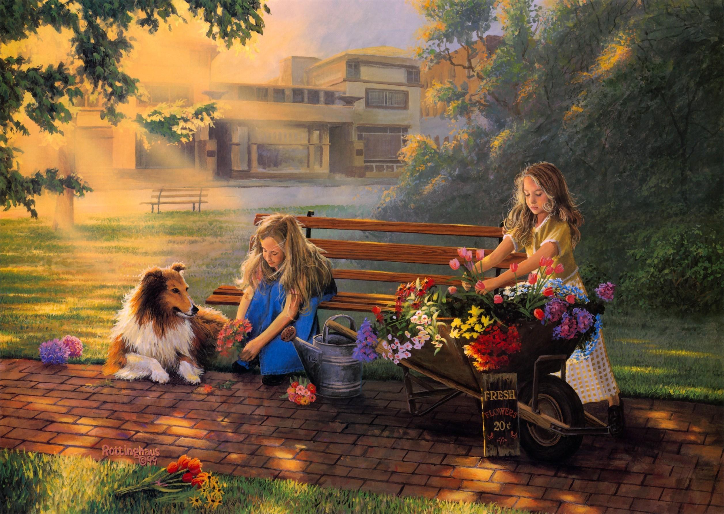 Artistic - Artistic  Painting Dog Girl Flower Wallpaper