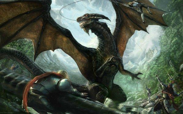 Fantasy Dragon Battle Warrior Castle HD Wallpaper | Background Image