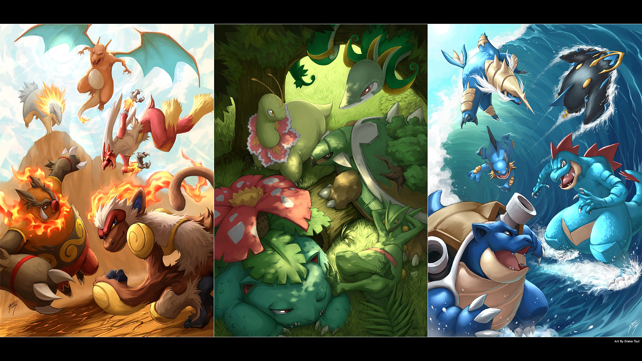 Pokemon Serperior And Samurott And Emboar Pokémon Fondo de ...