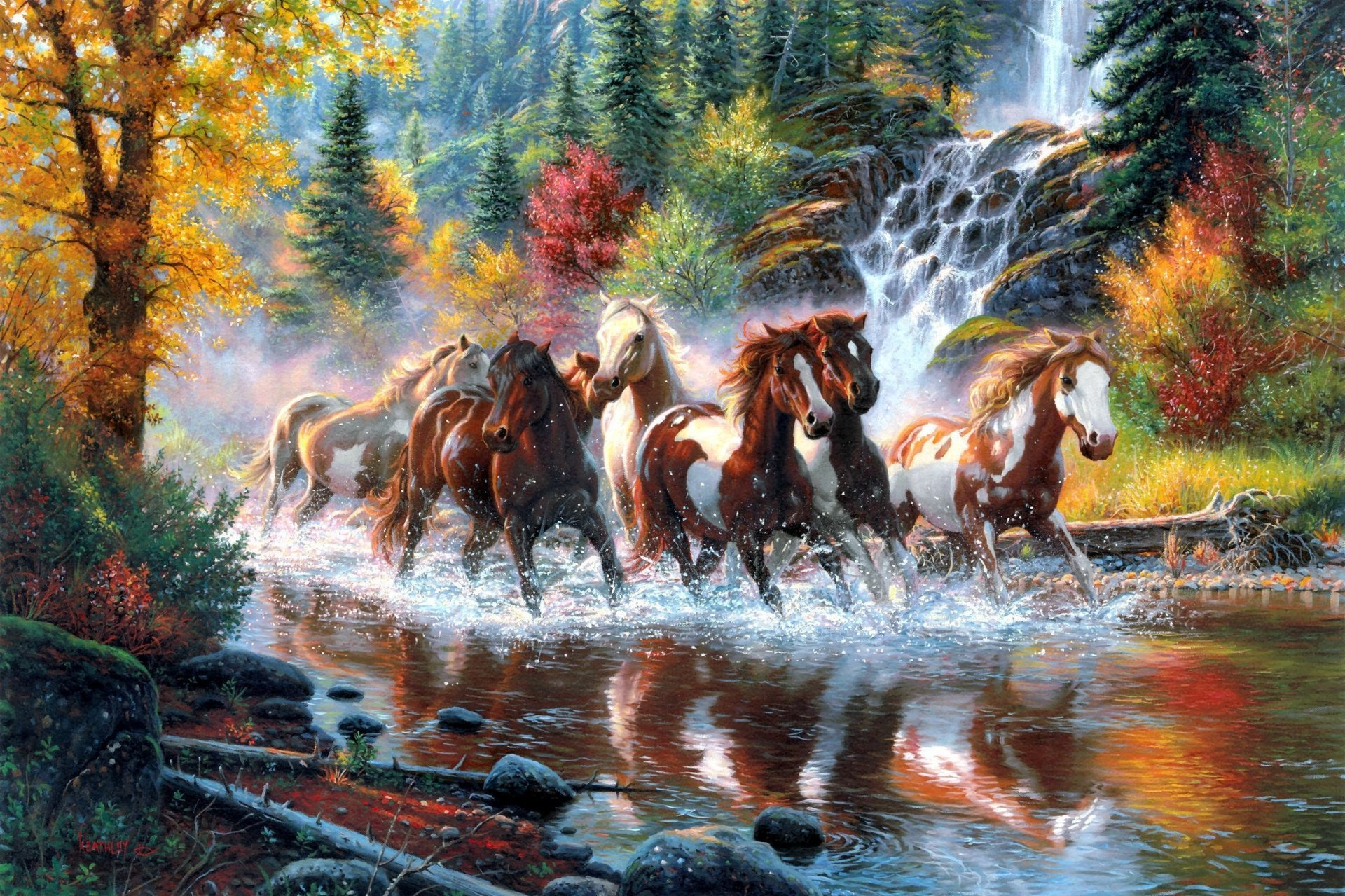 Animal - Artistic  Scenic Stream Forest Waterfall Fall Season Mountain Horse Wallpaper
