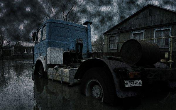 Photography Rain Truck Vehicle HD Wallpaper | Background Image