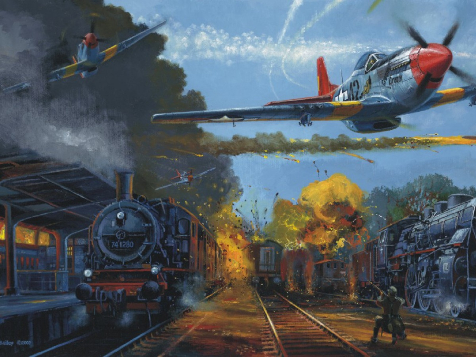 p-51 mustang makes an attack on a german train station. wallpaper