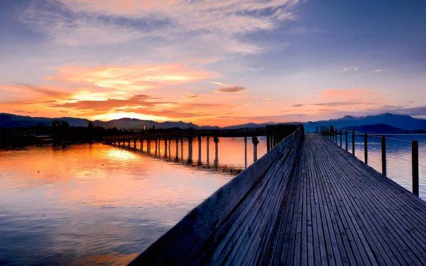Man Made Pier Dock Lake Sunset HD Wallpaper   Background Image