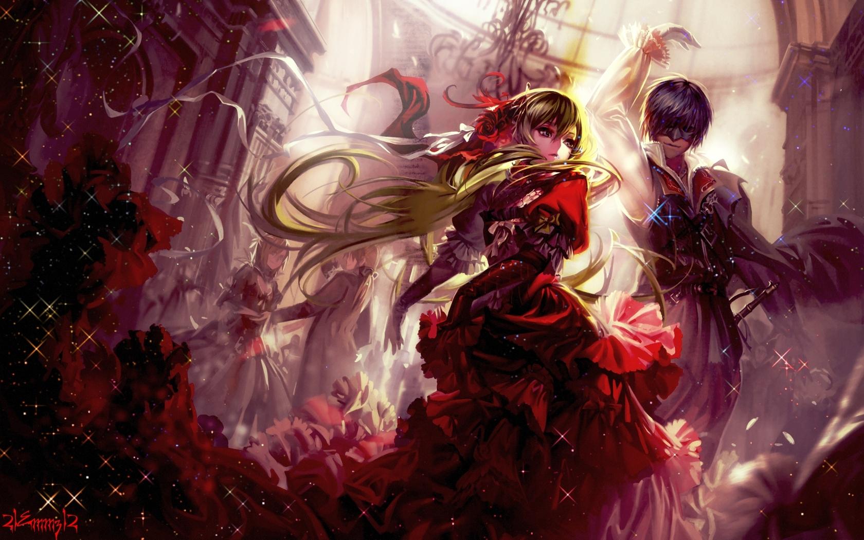 Anime - Vocaloid  - Miku Hatsune - Kaito Shion - Miku - Kaito - Song Illustration - Cantarella Papel de Parede