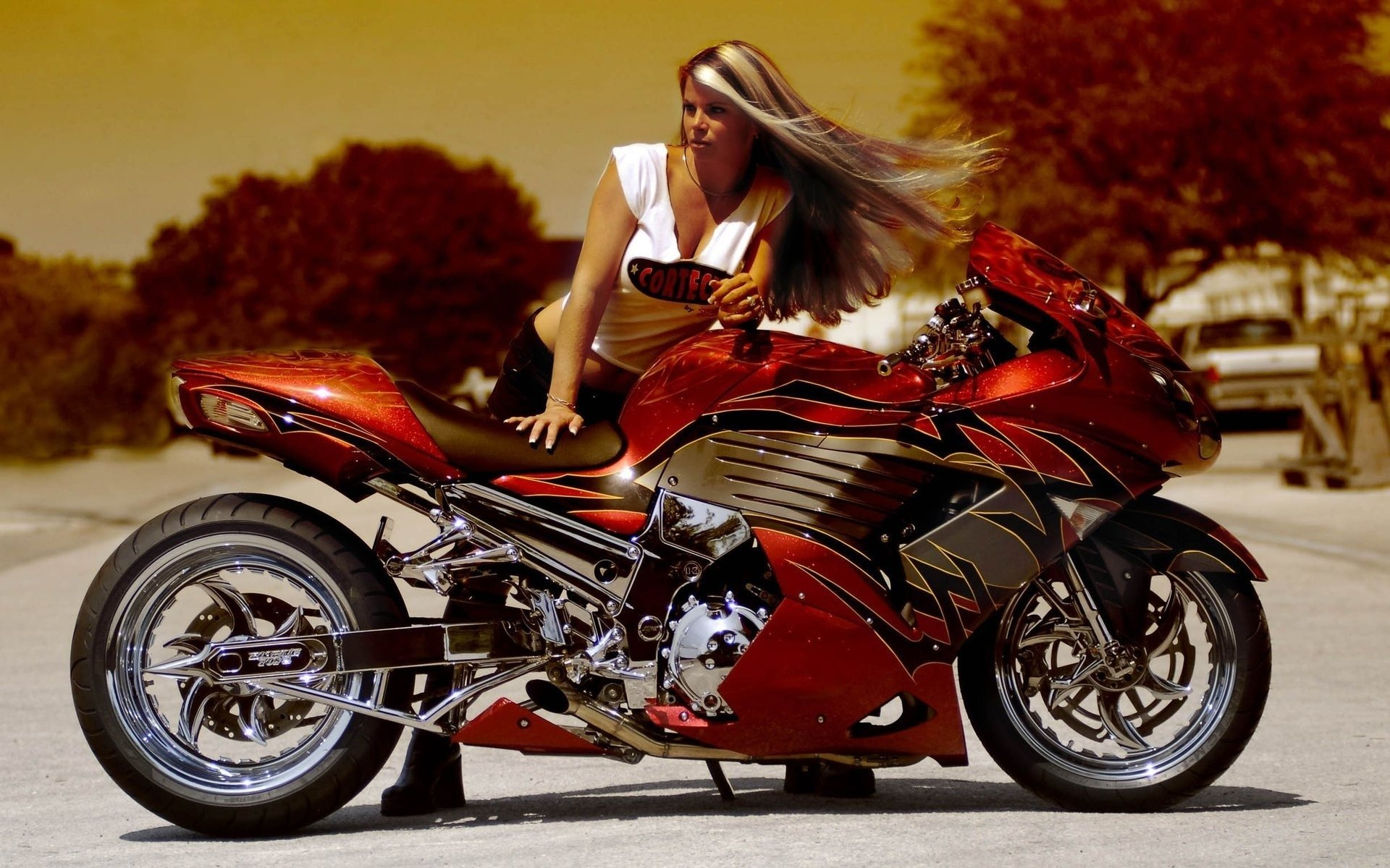 90 girls & motorcycles hd wallpapers | background images - wallpaper