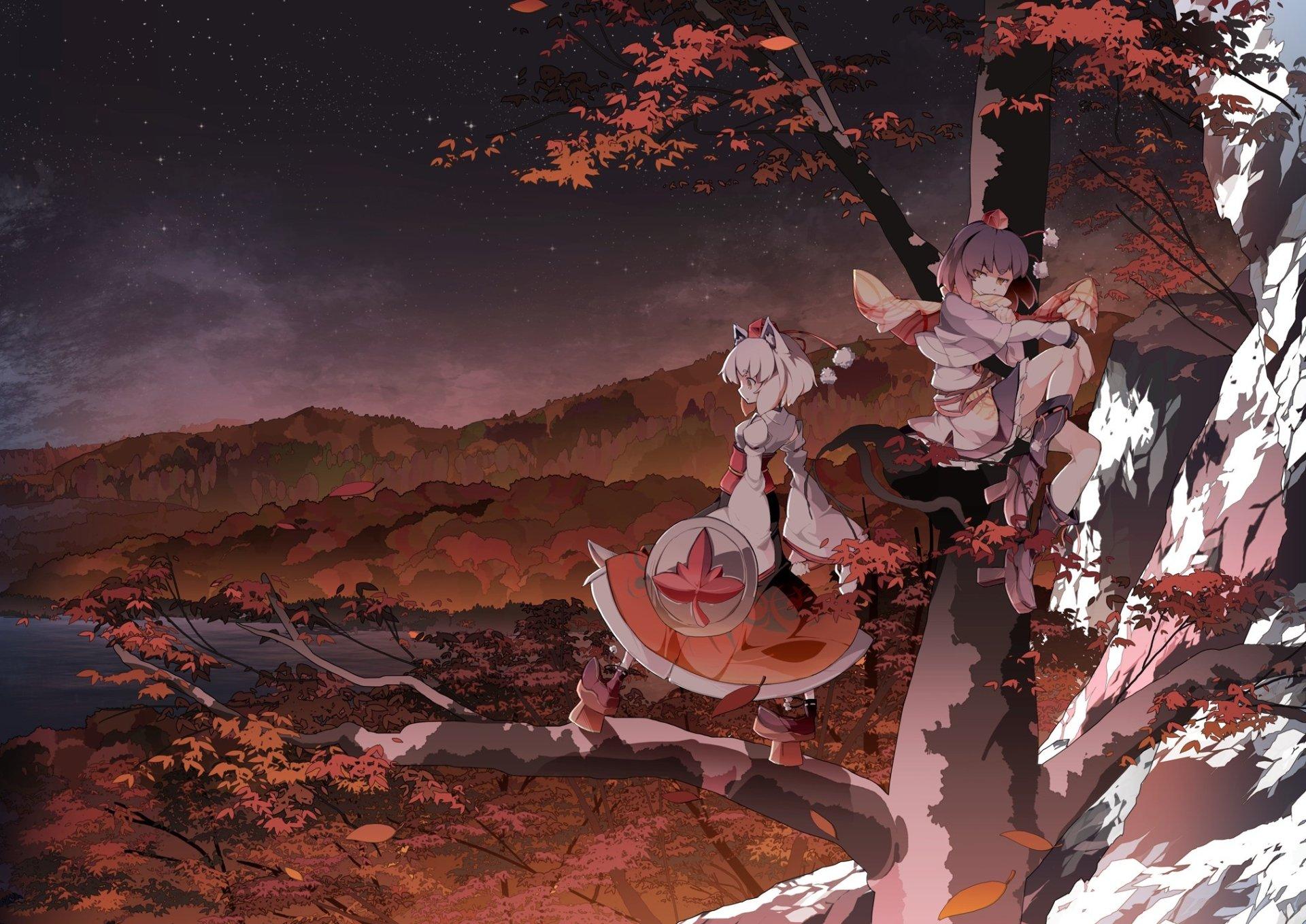 Anime - Touhou  Momiji Inubashiri Aya Shameimaru Wallpaper