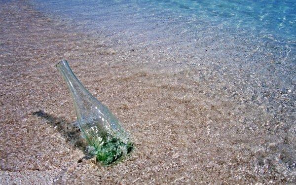 Man Made Bottle Water Beach HD Wallpaper | Background Image