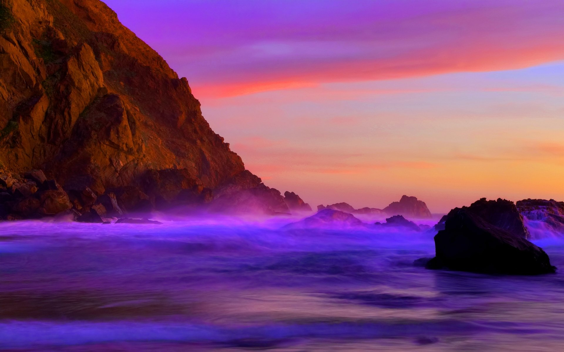 Earth - Ocean  Purple Blue Rock Sea Coastline Shore Shoreline Cliff Scenic Wallpaper