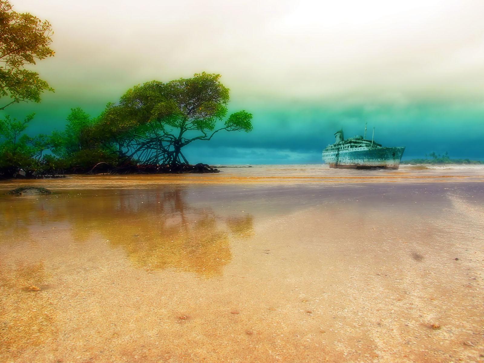 Fotografía - Playa  - Tropical - Hdr - Shipwreck - Mangrove - Pastel - Splendid Fondo de Pantalla