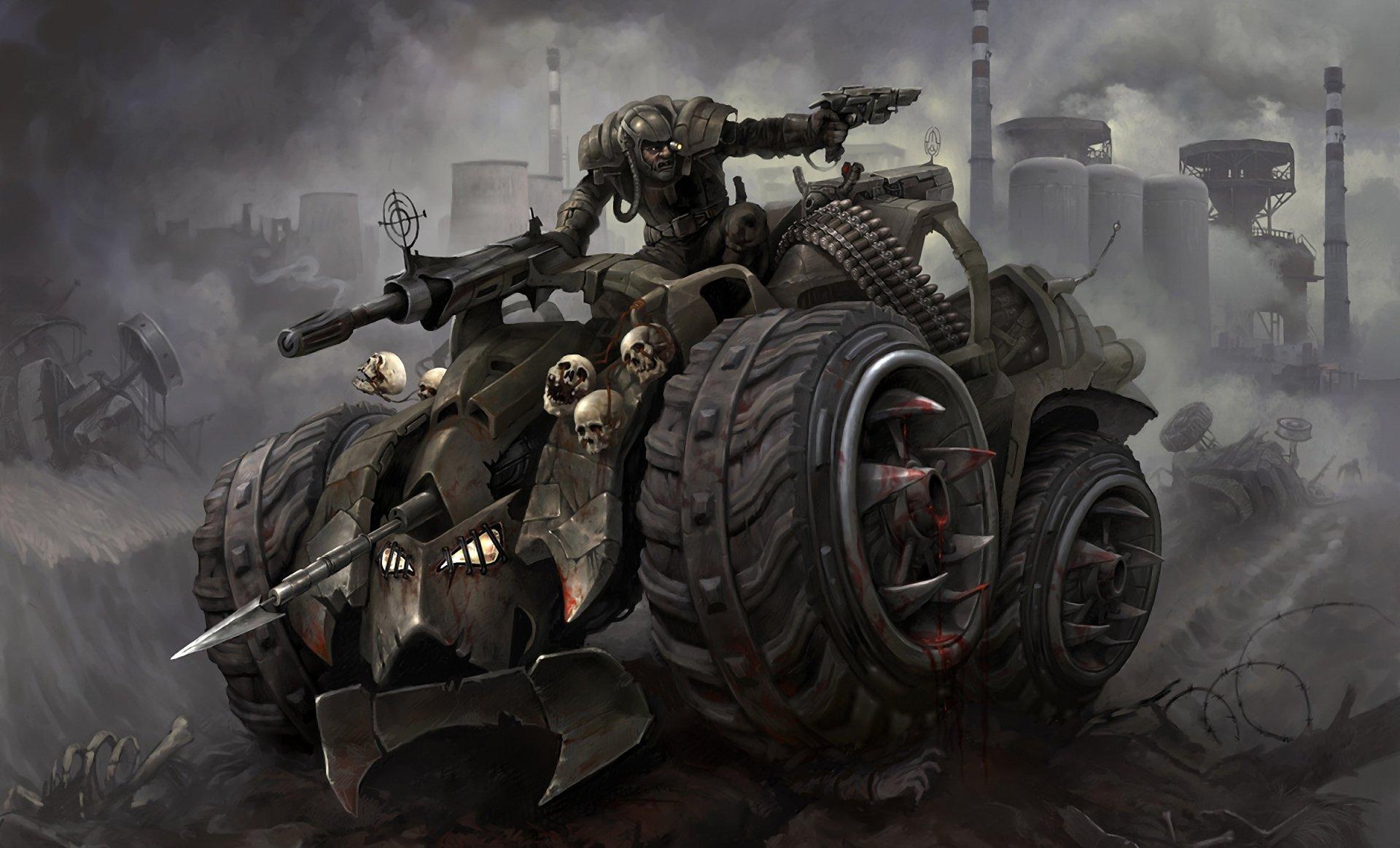 科幻 - 交通工具  黑暗 War Gun Ammo 坦克 子弹 雾 Wasteland 头骨 壁纸