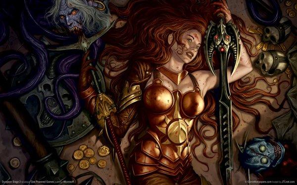Jeux Vidéo Dungeon Siege II Dungeon Siege Sombre Gothique Magicienne Guerrier Fond d'écran HD | Image