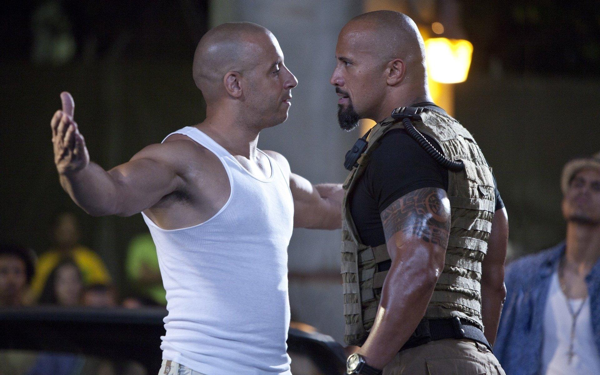 Movie - Fast Five  Vin Diesel Dominic Toretto Luke Hobbs Dwayne Johnson Wallpaper