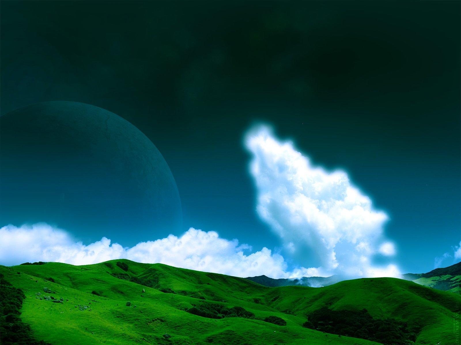 Sci Fi - Planet Rise  Earth Green Grass Cloud Planet Sky Blue Wallpaper