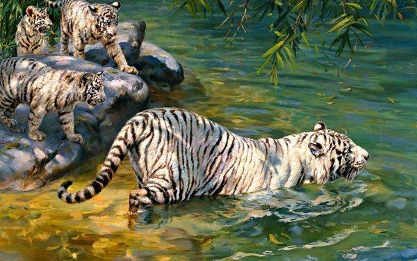 Animal White Tiger Cats Donald Grant Jungle Illistration HD Wallpaper   Background Image