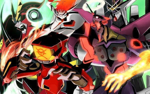 Anime Crossover Neon Genesis Evangelion Tengen Toppa Gurren Lagann FLCL Diebuster HD Wallpaper | Background Image