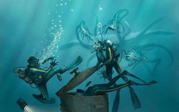 Fantaisie Monstre Marin Diver Fond d'écran HD | Arrière-Plan