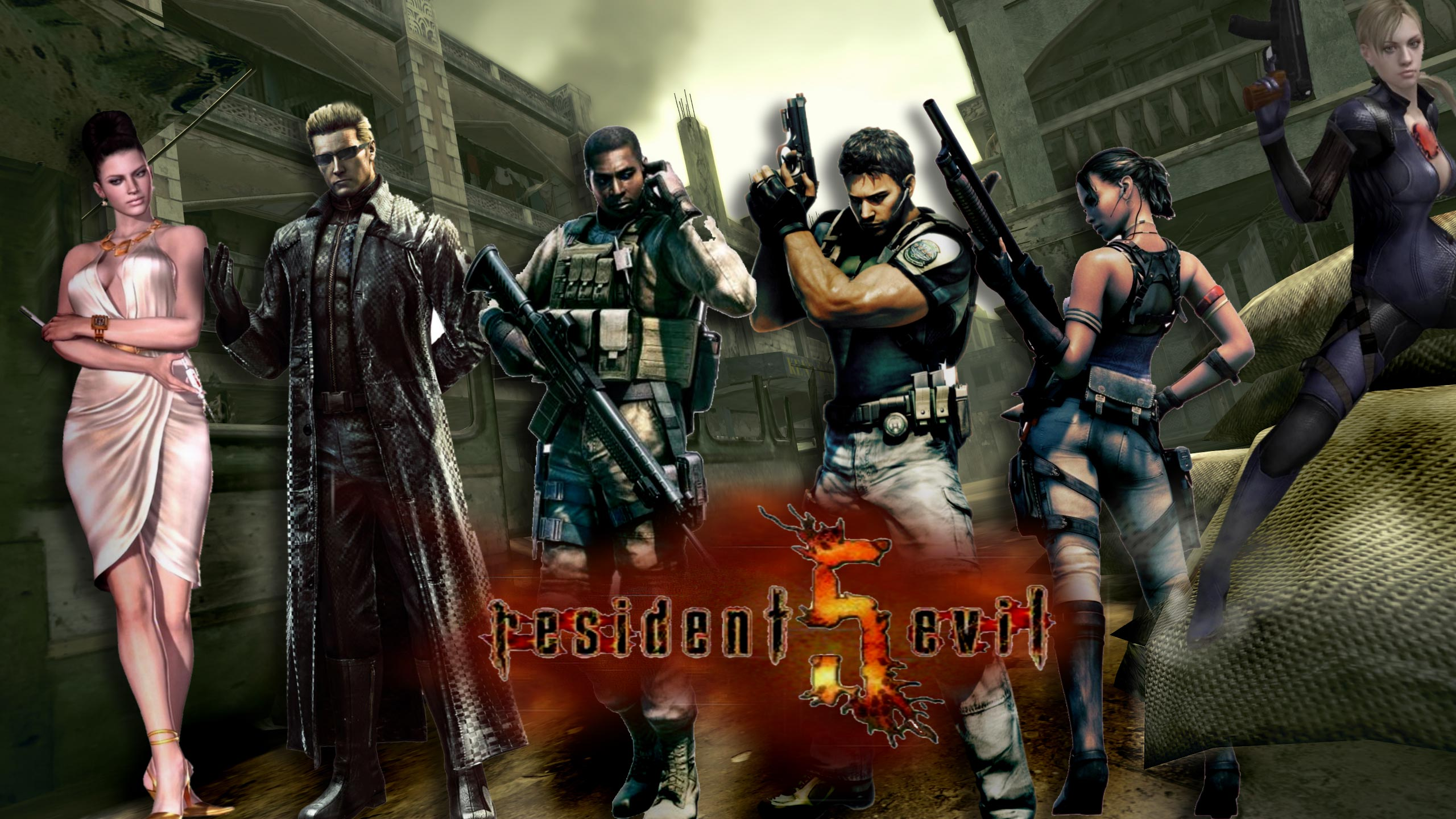 Wallpaper Gun Video Games Black Background Resident: Resident Evil 5 HD Wallpaper